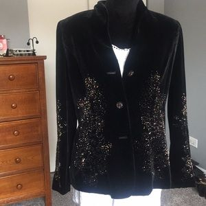 Bloomingdales black velvet, beaded jacket.